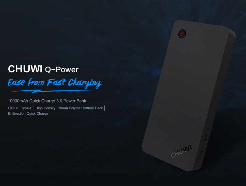 CHUWI M10 10000mAh Mobile Power Bank Certification Type-C Interface Two-way Quick Charge 3.0- Black