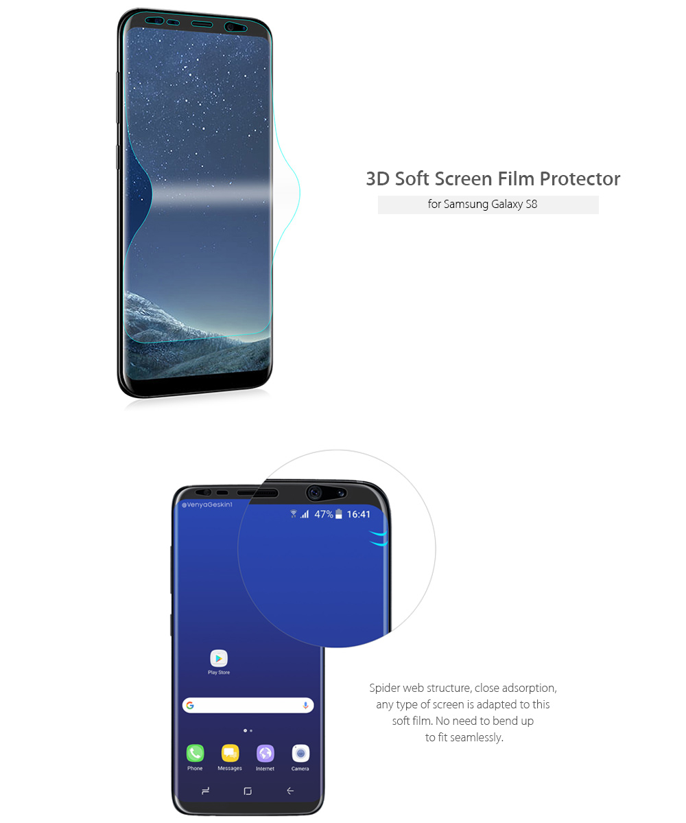 Hat Prince Ultra-thin Soft Screen Water Condensate Film 3D Protector for Samsung Galaxy S8