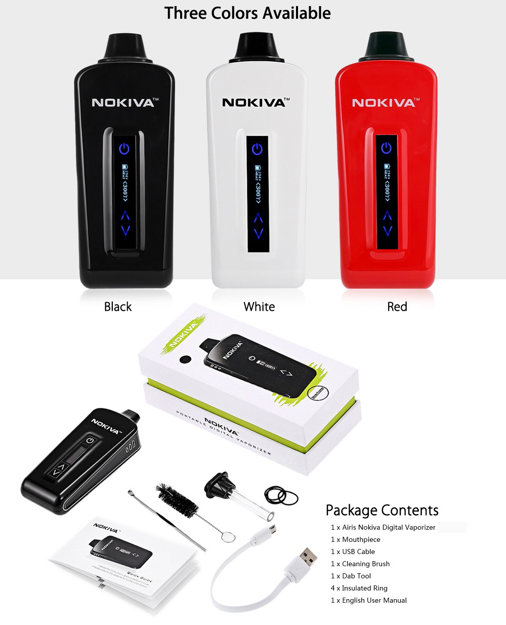 Original ANLERR Airis Nokiva Digital Vaporizer with 300 - 435F / 149 - 224C / Memory Data Function / 2200mAh Li-polymer Battery for E Cigarette