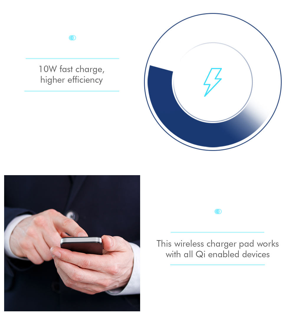 10W Fast Charge Wireless Charger Pad Power Dock Phone Stand Holder