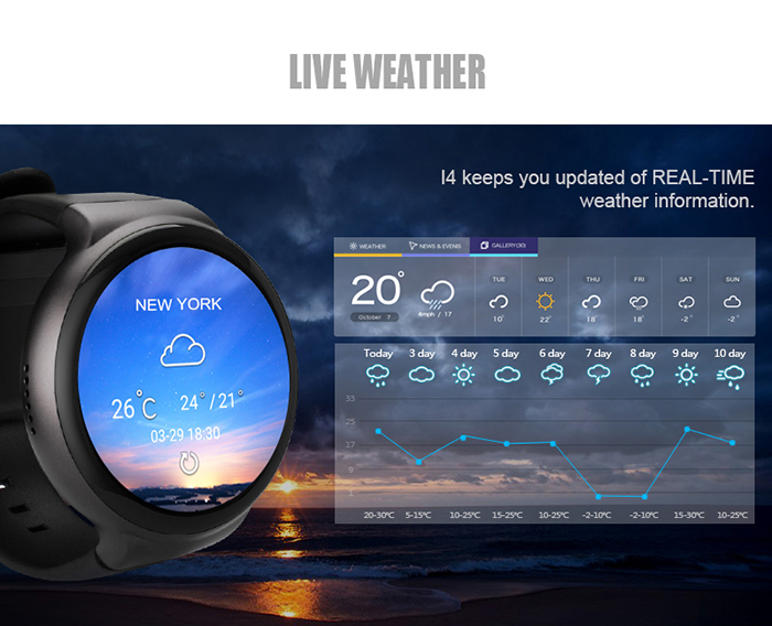 I4 3G Smartwatch Phone 1 39 inch Android 5 1 MTK6580M 1 0GHz Quad Core 1GB  RAM 16GB ROM Pedometer Heart Rate Measurement