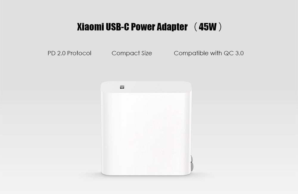 PD 2.0 USB Type-C Power Adapter for Xiaomi 45W Quick Charge 3.0 Gift Cable- White Chinese Plug