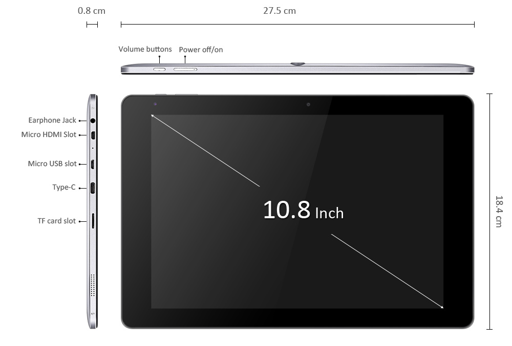 CHUWI Hi10 Plus Tablet PC Windows 10 + Android 5.1 10.8 inch IPS Screen Intel Cherry Trail X5 Z8350 64bit Quad Core 1.44GHz 4GB RAM 64GB ROM Bluetooth