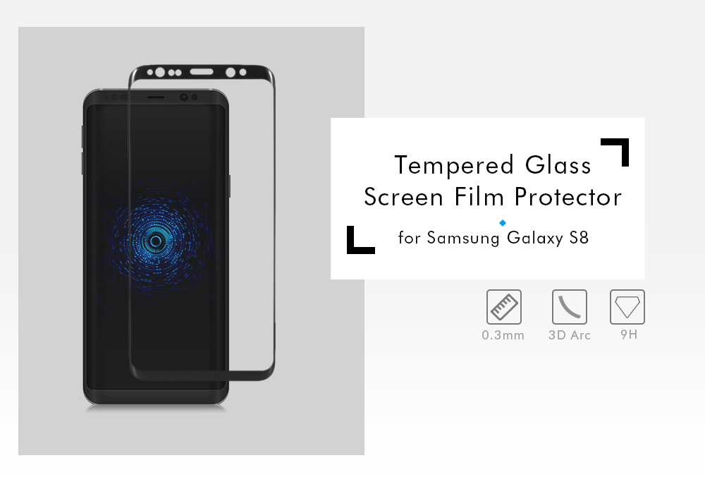 3D Arc Tempered Glass Full Cover Screen Film for Samsung Galaxy S8 Explosion-proof Protector