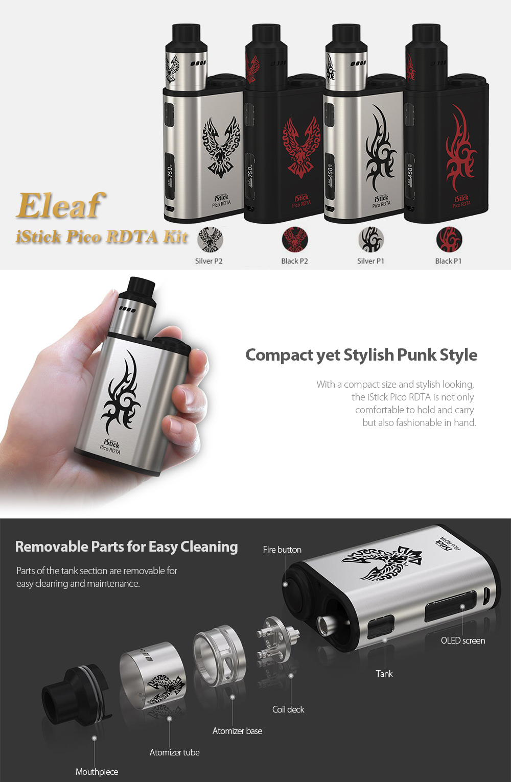 Original Eleaf Istick Pico Rdta Kit 4871 Free Shipping Starter 75w Vapor Vaporizer Package Contents 1 2 Clapton Coil Pure Cotton Usb Cable English User Manual X Spare Part