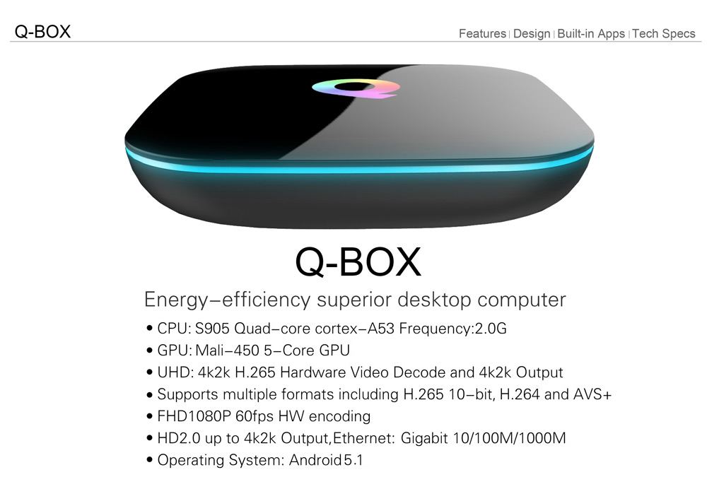 Sunvell Q-BOX TV Box 4K H.265 1000M Ethernet Android 5.1 Amlogic S905 Quad-core WiFi BT 4.0 HD 2.0 Google Streaming TV