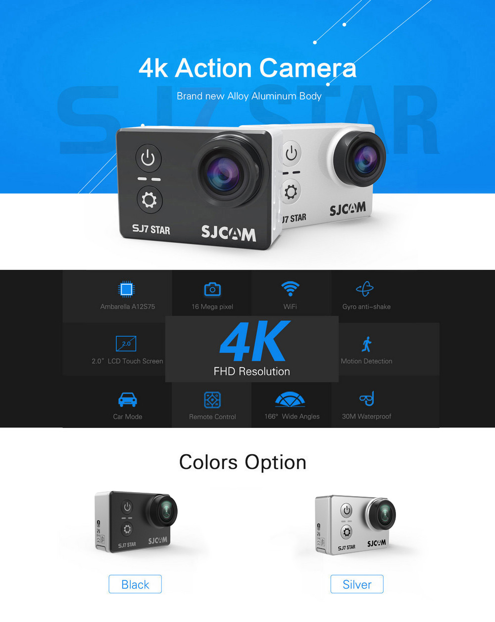 Original SJCAM SJ7 STAR 4K WiFi Action Camera 2.0 inch Touch Screen 166 Degree FOV 12MP