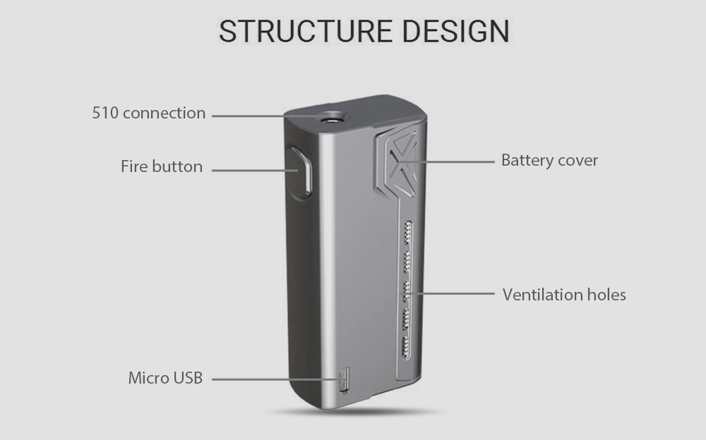 Original Teslacigs HASSLE - FREE Vaping 90W Mod Supporting 1pc 18650 Battery with 4.2V for E Cigarette