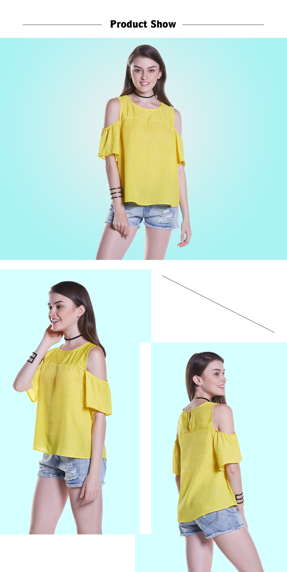 Polka Dot Cold Shoulder Tops with Round Neck