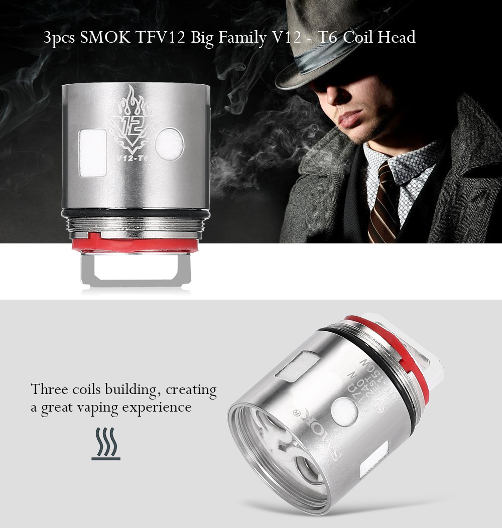 3pcs SMOK TFV12 Big Family V12 - T6 0.17 ohm Sextuple Coil Head for E Cigarette