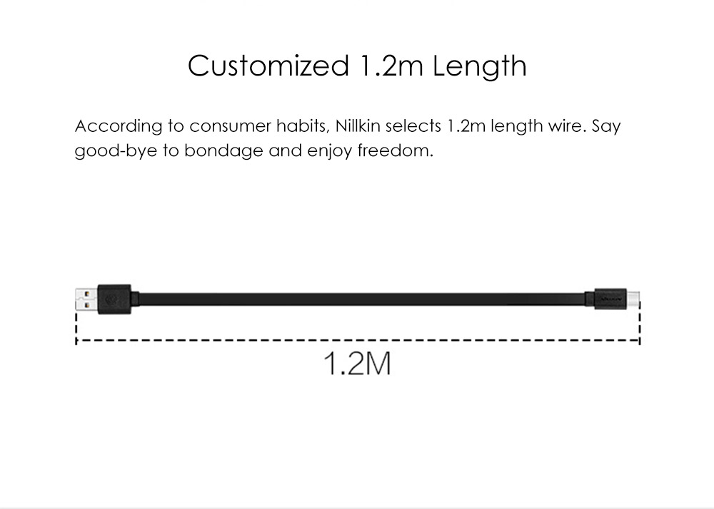 Nillkin Type-C USB Data Sync Charging Cable TPE Cover Rope - 1.2m