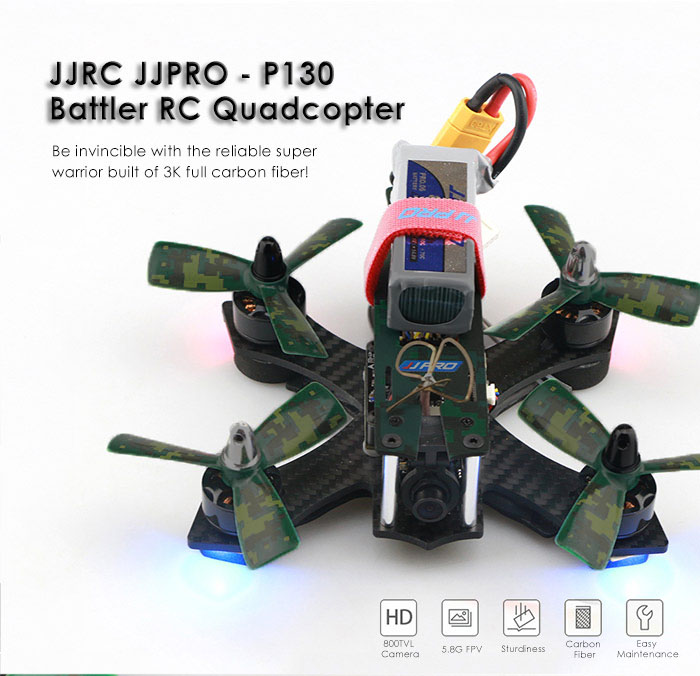 JJRC JJPRO - P130 Battler 130mm 5.8G FPV 800TVL 2.4GHz 6CH RC Racing Quadcopter - RTF