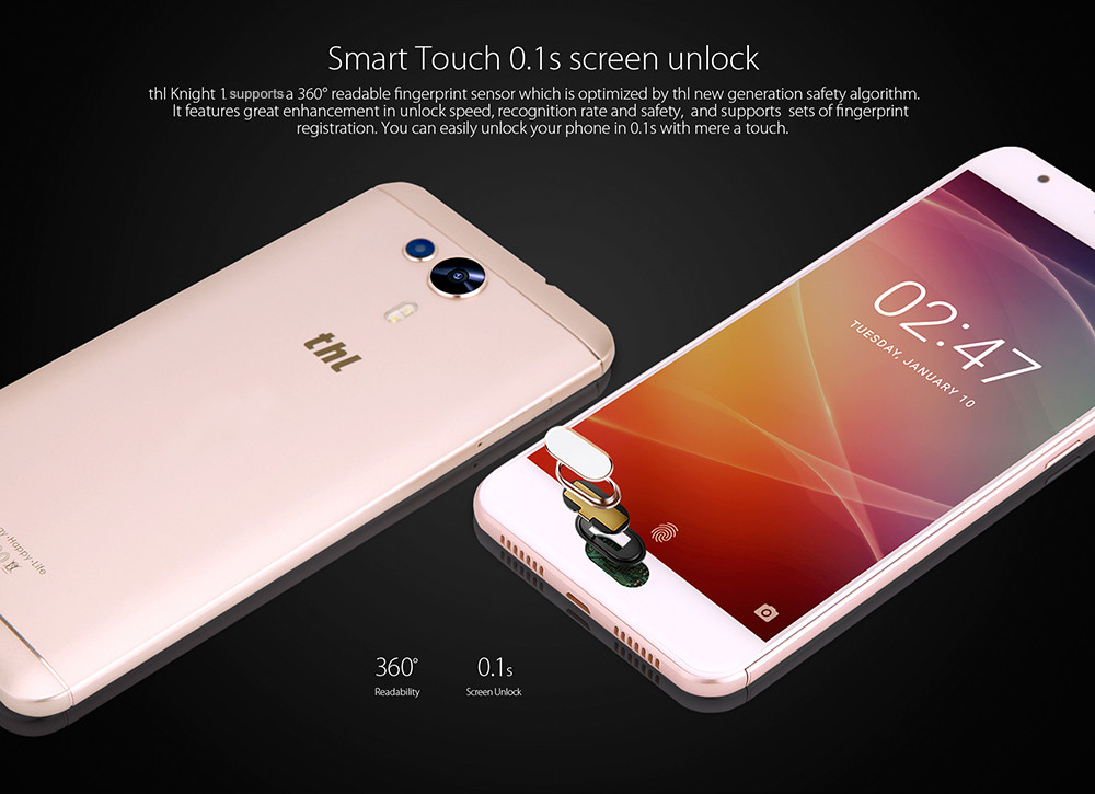 THL Knight 1 4G Phablet 5.5 inch Android 7.0 MTK6750T 1.5GHz Octa Core 3GB RAM 32GB ROM 13.0MP + 2.0MP Dual Rear Cameras Fingerprint Scanner HotKnot- Golden 3GB RAM 32GB ROM