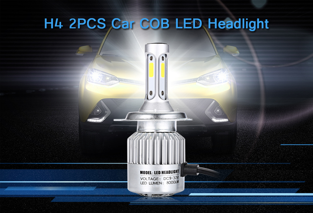 H4 2PCS Car Lamp 72W 6500K 8000LM COB LED White Headlight DC 9V - 32V