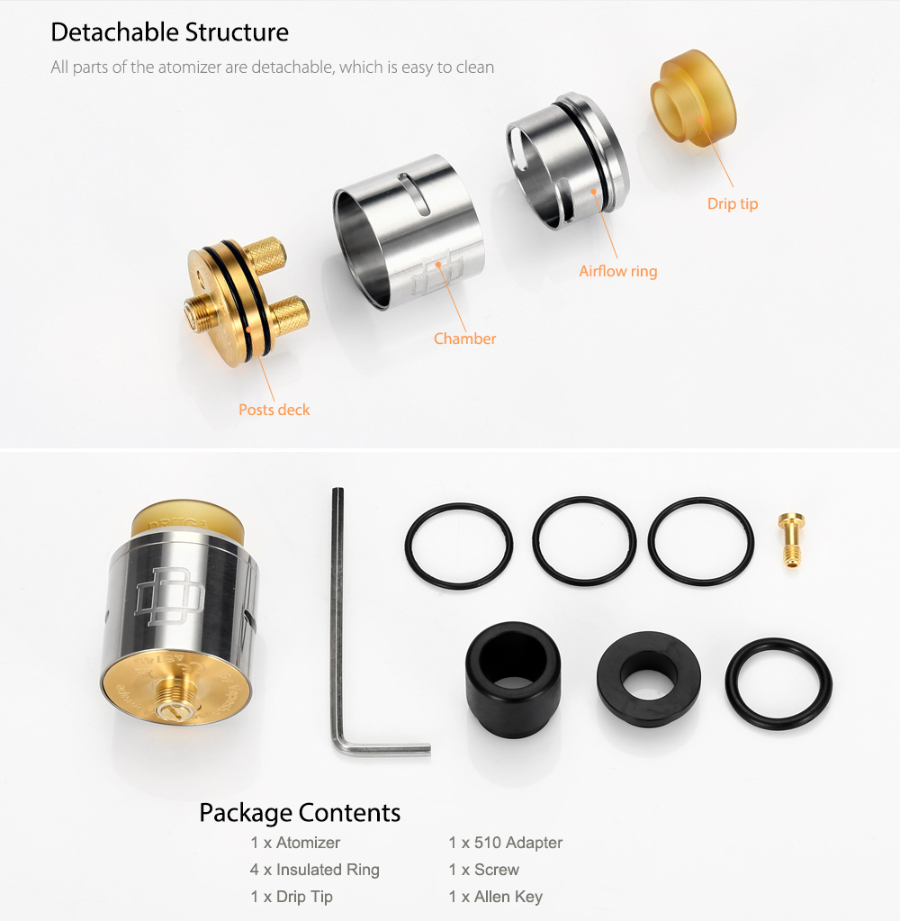 Original Augvape Druga 24mm Rda 2999 Free Shipping Goon Styled 22mm Rebuildable Dripping Atomizer Black With Dual Posts Side Airflow For E Cigarette