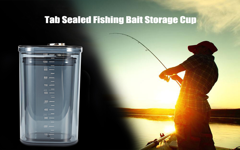 Tab 2-piece 1100mL / 600mL Sealed Fishing Bait Lure Storage Cup Box with Scale