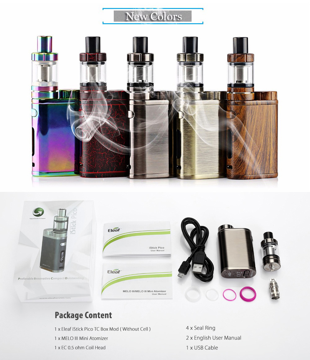 Original Eleaf iStick Pico TC 75W Mod Kit with Ni Ti SS TCR-M1 M2 M3 TC Modes / Upgradable Firmware Box Mod / Invisible Airflow Control MELO III Mini Atomizer