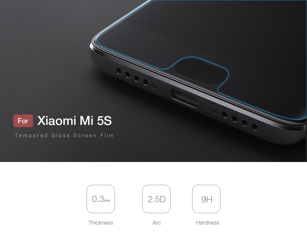 2pcs Luanke Tempered Glass Screen Protective Film for Xiaomi Mi 5S Ultra-thin 2.5D 9H Explosion-proof Protector- Transparent