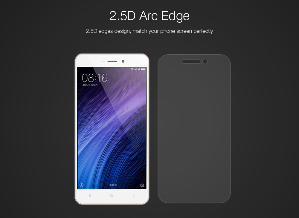 2pcs Luanke Tempered Glass Screen Protective Film for Xiaomi Redmi 4A Ultra-thin 2.5D 9H Explosion-proof Protector