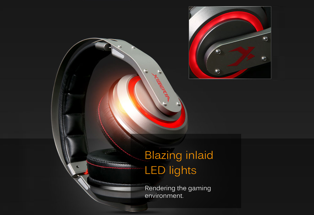 XIBERIA T19 Over-ear 7.1 Virtual Surround USB Headphones with LED Lights- Iron Grey