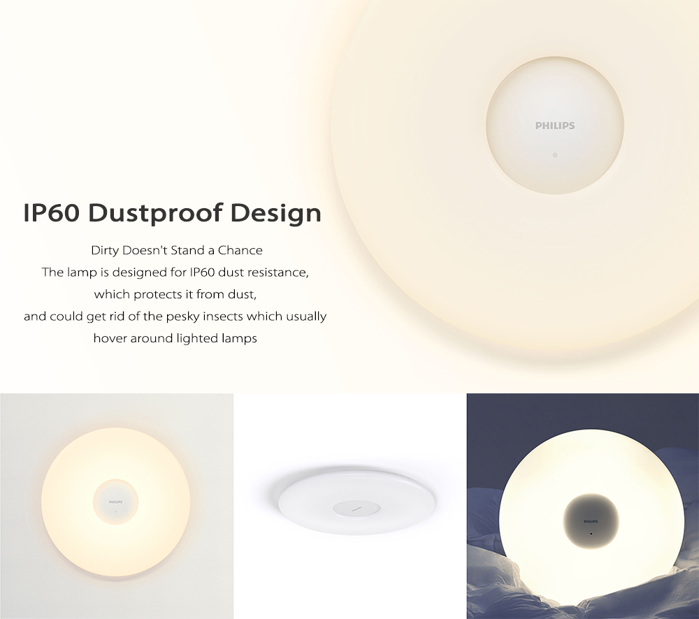 Original Mijia PHILIPS LED Ceiling Lamp Dust Resistance Wireless Dimming App AC 100 - 240V- White Ceiling Light