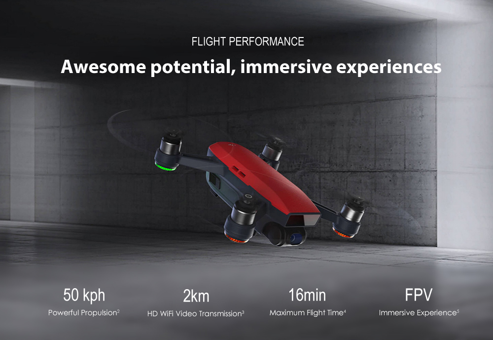 DJI Spark Mini RC Selfie Drone WiFi FPV 12MP Camera / 2-axis Mechanical Gimbal- White RTF ( CN Plug, With Transmitter Adapter )