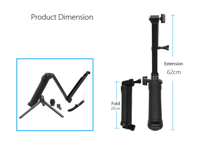 Exceptionnel TELESIN Foldable Monopod for Polaroid Cube / Cube+ -$15.01 Online  EH52