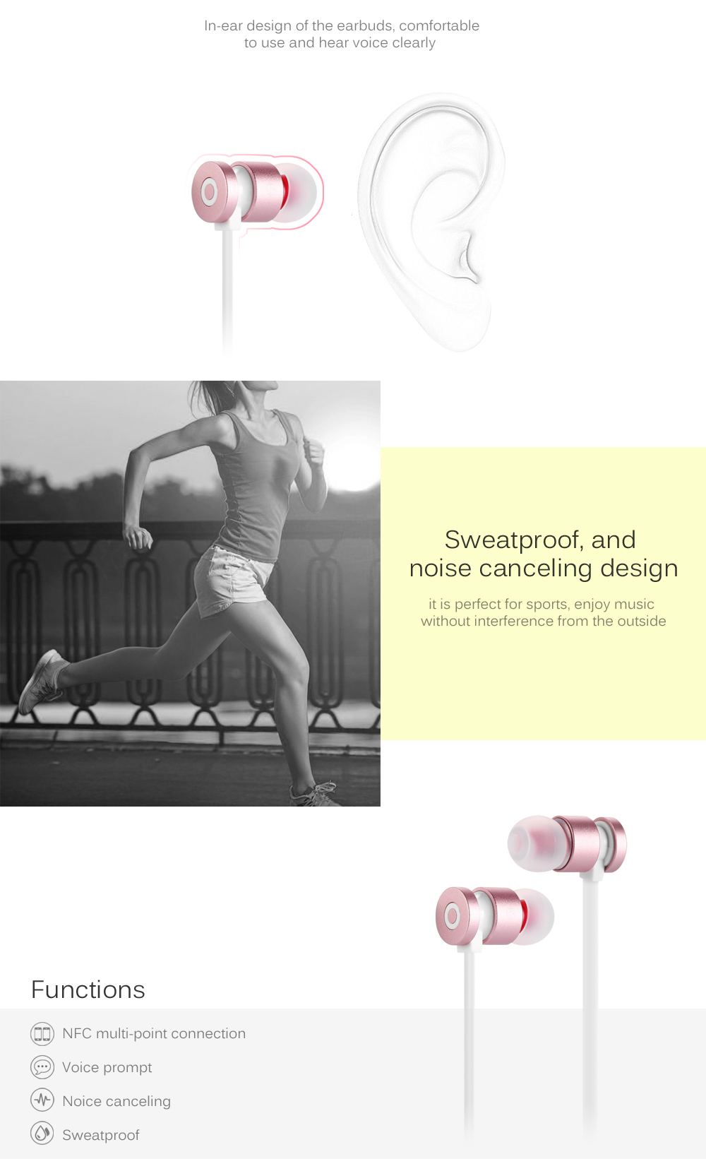SQ - 811BL Bluetooth 4.1 In-ear Design Earbuds for Sports