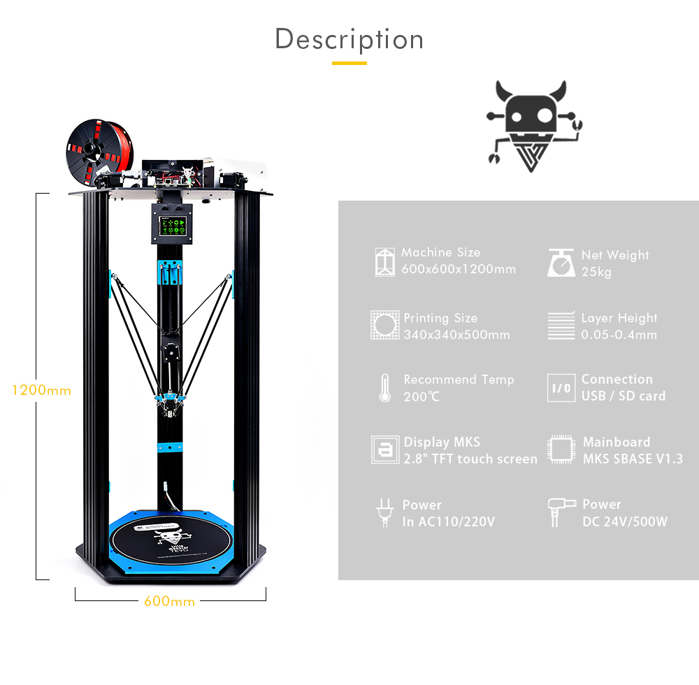 Tevo Little Monster Delta 3d Printer Diy Kit 112149 Free Connections Of Ramps 1 4 Aluminium Extrusion Black Us Plug 110v
