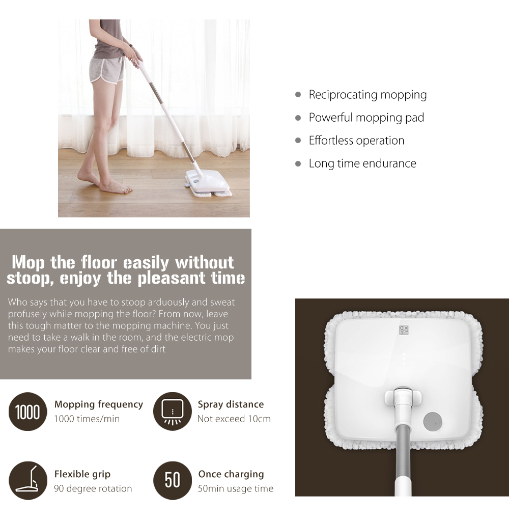 Xiaomi Wireless Handheld Electric Mop Floor Vibration Scrubber White