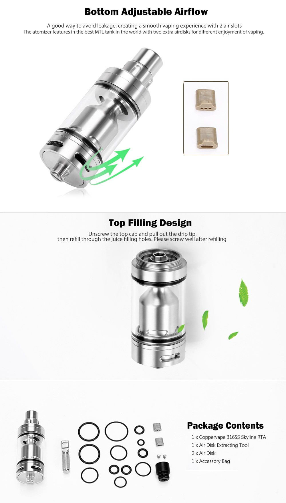 Coppervape 316SS Skyline RTA / MTL Tank with Top Filling / Bottom Adjustable Airflow for E Cigarette