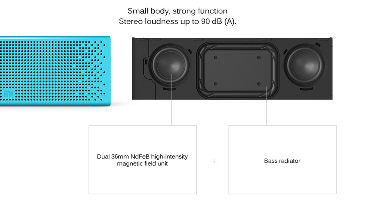 Original XiaoMi Bluetooth 4.0 Speaker Built-in Battery Support Hands-free Calls for iPhone 6S / 6S Plus / iPad Pro / Samsung Galaxy Tab S2- Blue