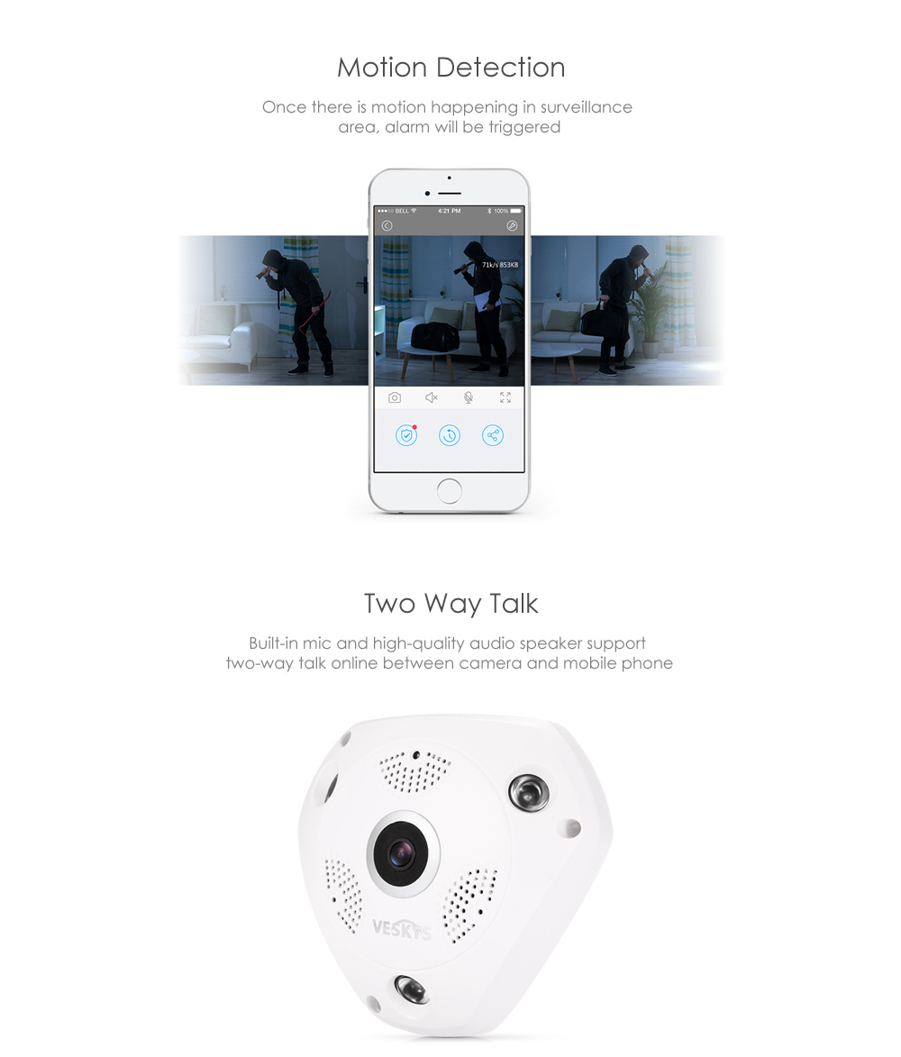 Veskys 960p 360 Degree Hd Ip Network Security Wifi Camera 3536 Channel Remote View Mobile Dvr With Shock Sensor And Antenna Full 13mp Fisheye