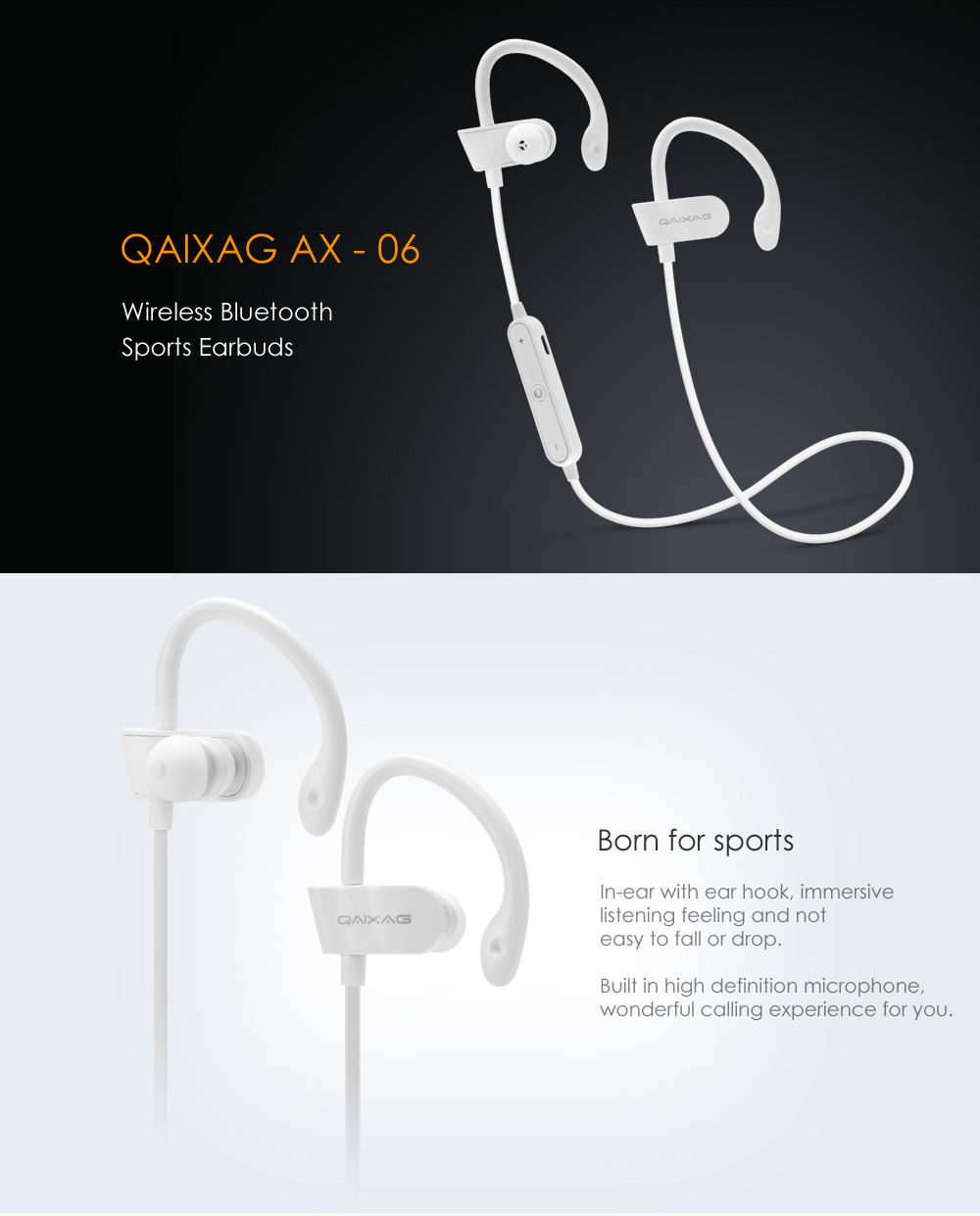 QAIXAG AX - 06 Wireless Bluetooth Sports Earbuds with On-cord Control