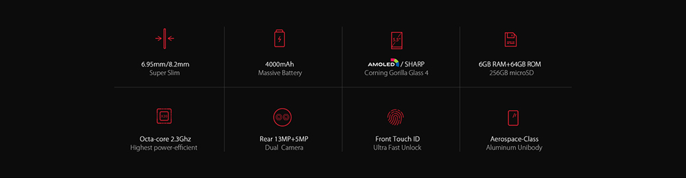 UMIDIGI Z1 Pro 4G Phablet Android 7.0 5.5 inch AMOLED Screen MTK6757 Octa Core 2.3GHz 6GB RAM 64GB ROM 4000mAh Battery Front Touch Sensor Dual Rear Cameras