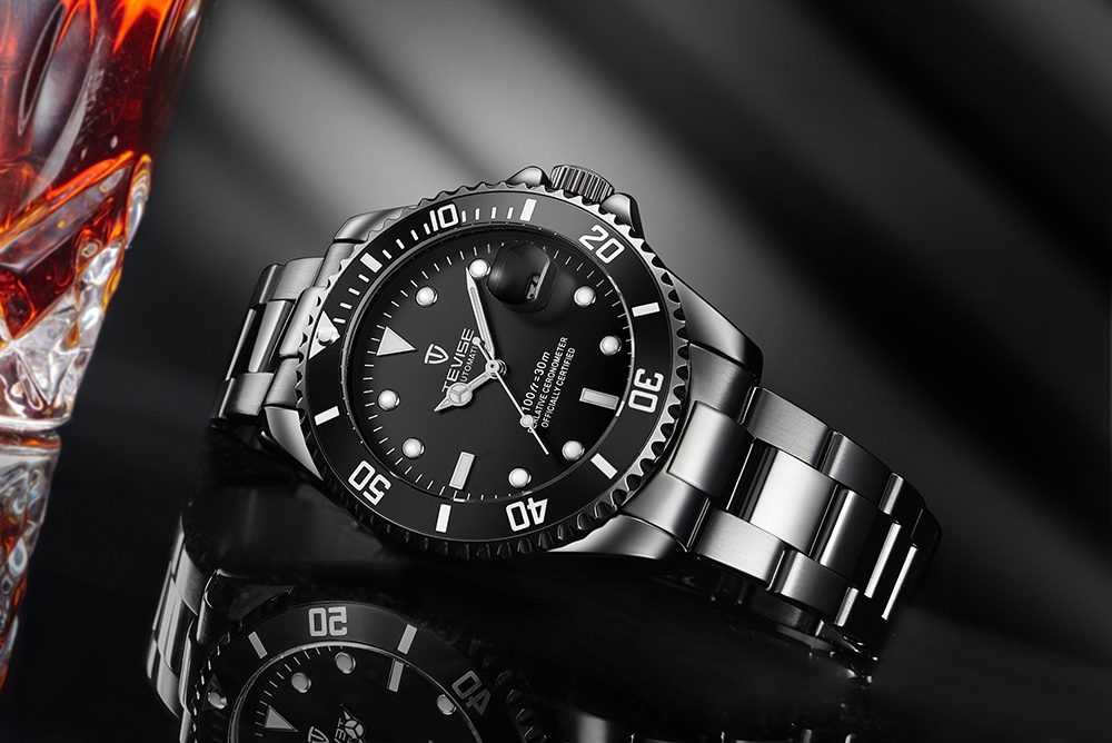 TEVISE T801 Stainless Steel Strap Men Mechanical Watch with Date Function