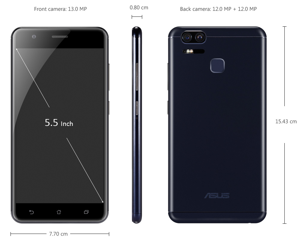 ASUS ZENFONE 3 ZOOM ( ZE553KL ) 4G Phablet 5.5 inch Android 6.0 Snapdragon 625 Octa Core 2.0GHz Dual 12.0MP Rear Cameras 5000mAh Battery