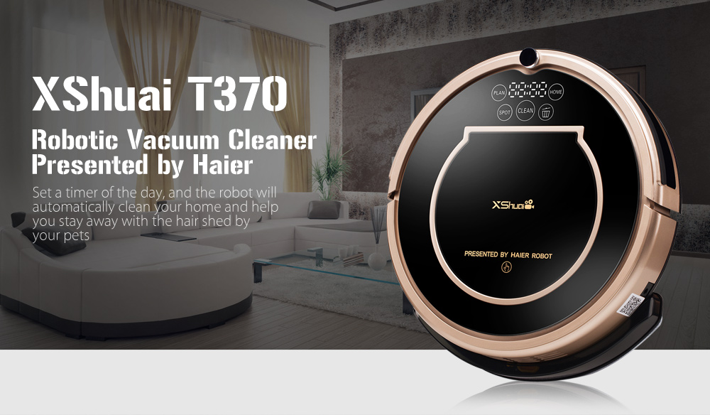 XShuai T370 Robotic Vacuum Cleaner Automatic Remote Control Cleaning Robot For Pet Dog Cat Hair