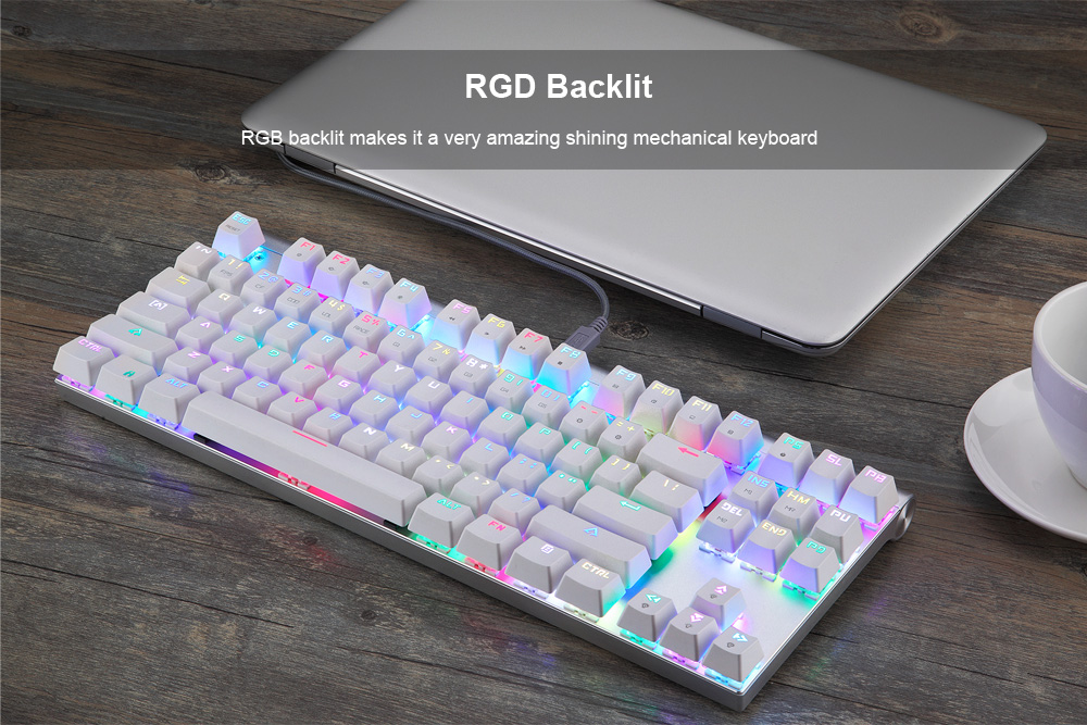 MOTOSPEED CK101 NKRO Mechanical Keyboard with RGB Backlight- White Blue Switch