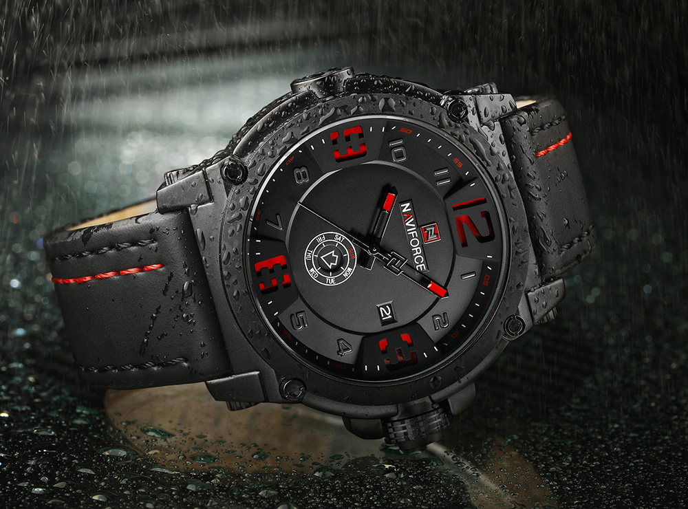 NAVIFORCE NF9099 PU Leather Strap Fashion Men Quartz Watch with Date Day- Black and red