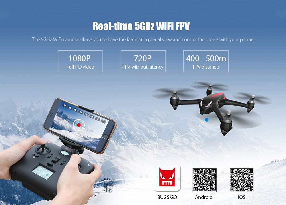 MJX Bugs 2 B2W Brushless RC Drone RTF 5GHz WiFi FPV 1080P Full HD / GPS Positioning / 2.4GHz 4CH Dual-way Transmitter