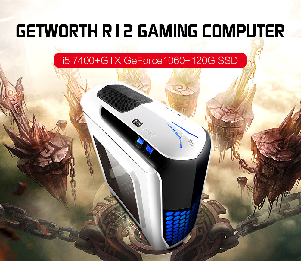 GETWORTH R12 Computer Tower DOS Intel Core i5-7400 Quad Core 3.0GHz 8GB RAM Colorful 120GB SSD