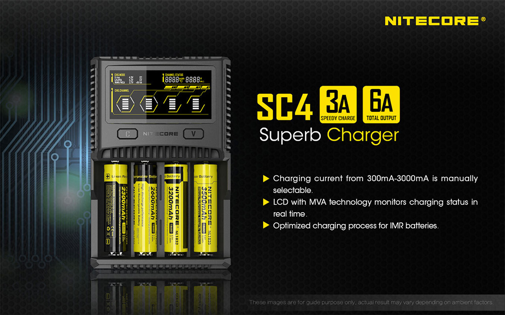 Nitecore SC4 Superb 3A Speedy Charger for IMR / LI-ION / LIFEPO4 / NI-MH