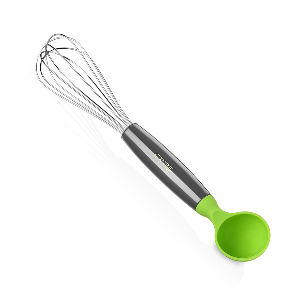 COZZINE 1001 Mixing Whisk with Scoop- GREEN AND GREY