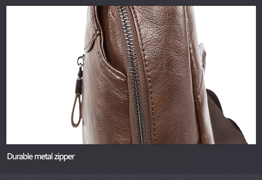 Men Leisure Textured PU Leather Chest Bag Crossbody Pack