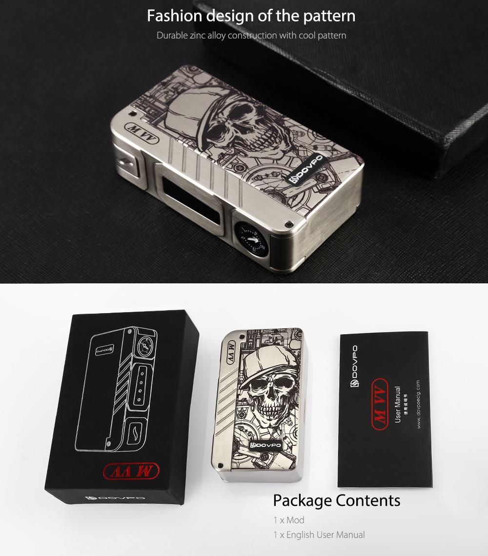 Dovpo M VV Box Mod Pattern Design & Pakcage Contents