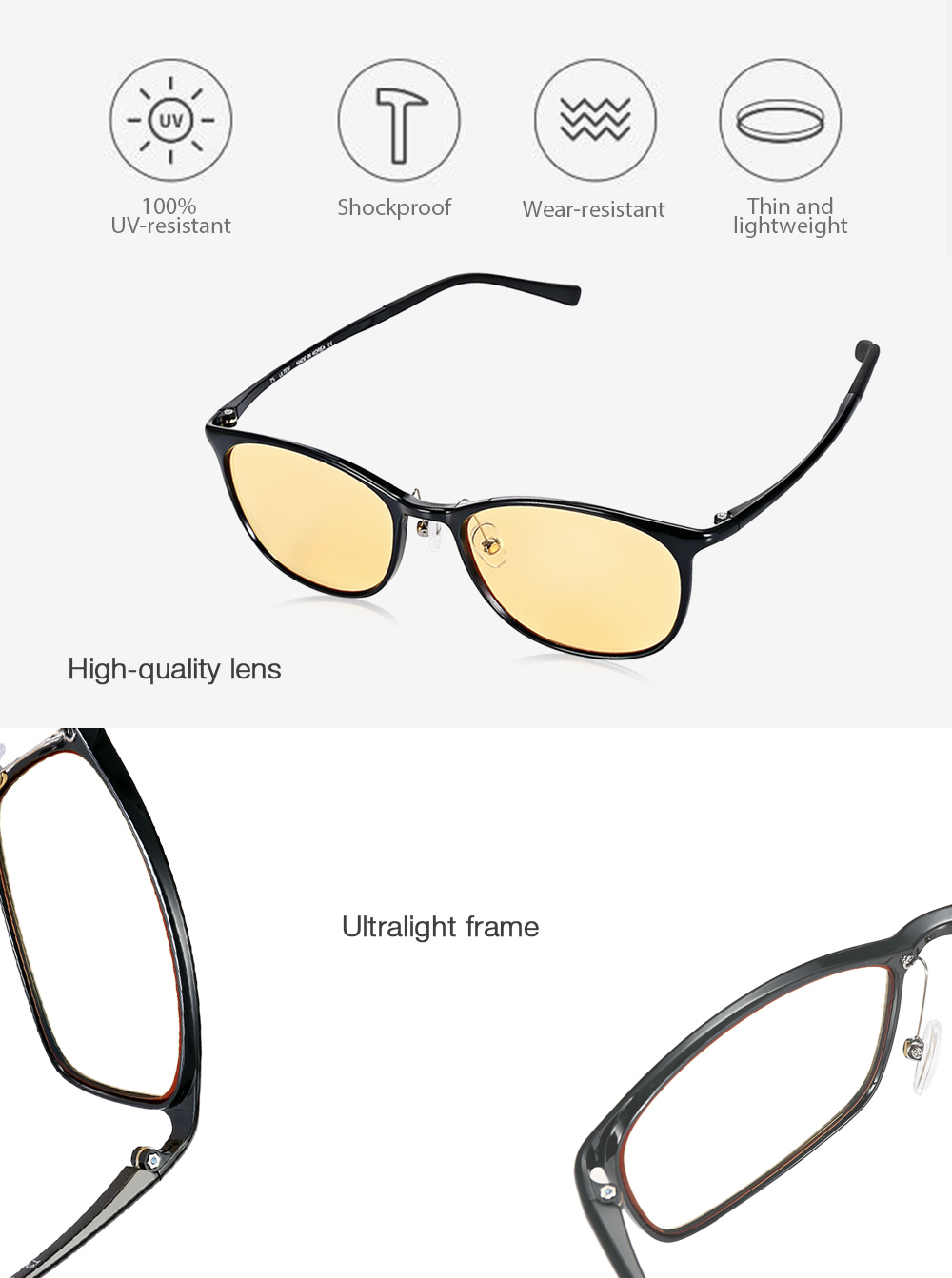 Xiaomi TS Ultralight Anti-blue-rays UV-resistant Protective Glasses  Computer Eyewear - d4c18f238c6