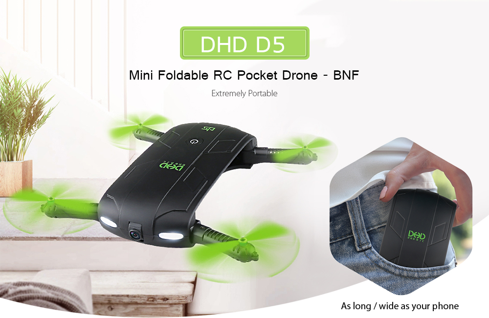 DHD D5 Mini Foldable RC Pocket Drone BNF WiFi FPV 0.3MP Camera / G-sensor Mode / Waypoints