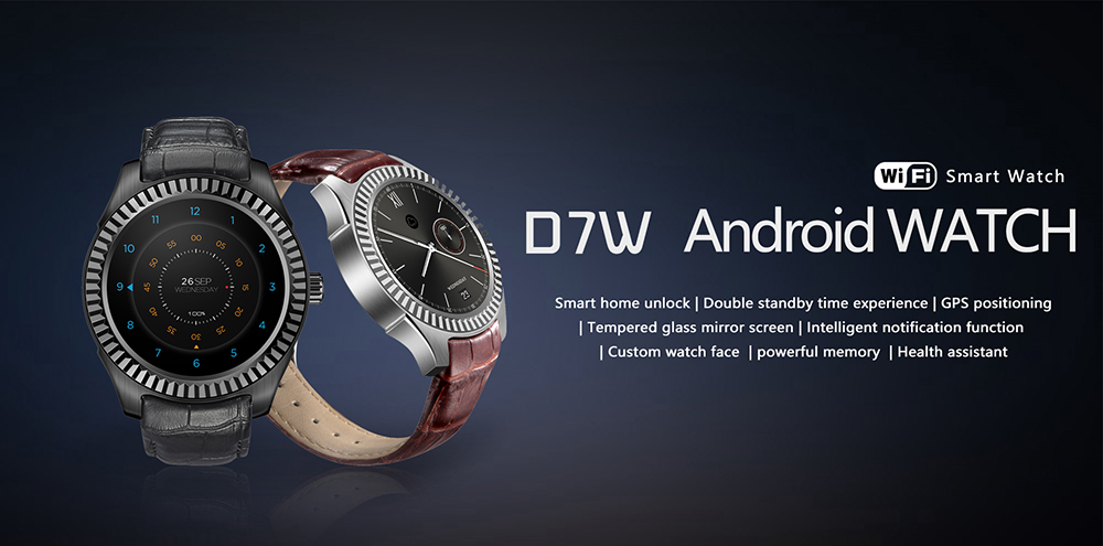 NO.1 D7W Heart Rate Smartwatch MTK6572 1GB RAM 8GB ROM Bluetooth 4.0 Sedentary Reminder Sleep Monitor Remote Camera WiFi