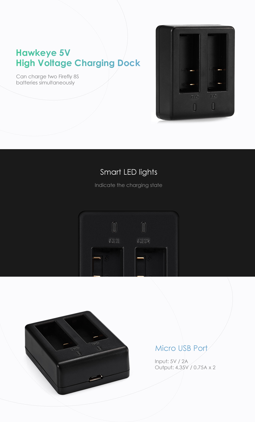 Hawkeye 5V Dual-slot Charging Dock for Firefly 8S Battery